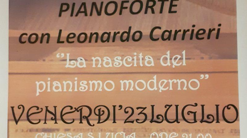 23 luglio Giustino – Concerto per Pianoforte con Leonardo Carrieri