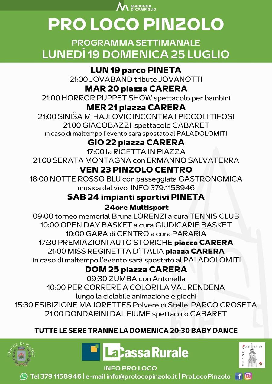 Pro Loco Pinzolo: Programmazione settimanale – Lunedì 19 Domenica 25 luglio 2021