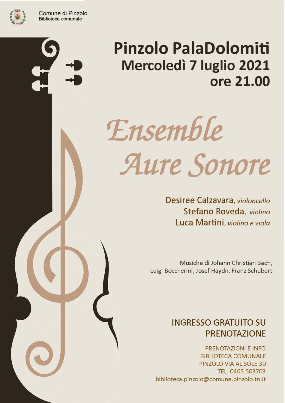 PalaDolomiti, 7 luglio ore 21 – Ensemble Aure Sonore