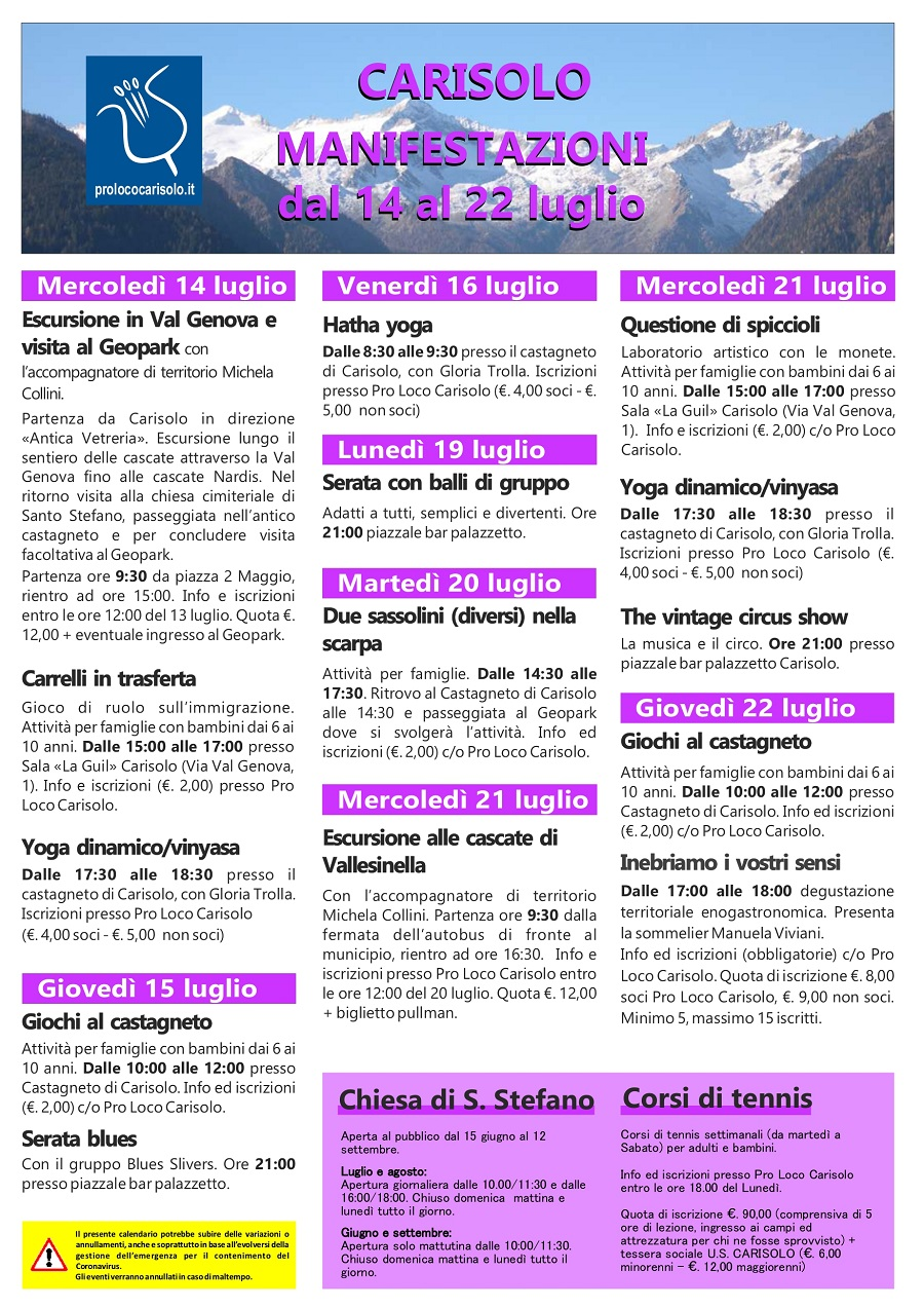CARISOLO Manifestazioni dal 14 al 22 luglio