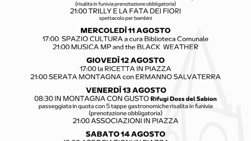 Pro Loco Pinzolo: Programmazione settimanale – Lunedì 09 agosto Domenica 15 agosto 2021
