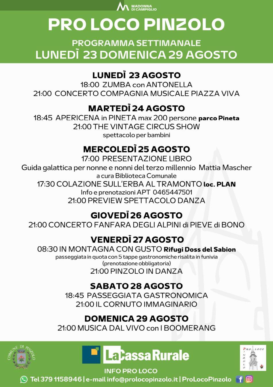Pro Loco Pinzolo: Programmazione settimanale – Lunedì 23 agosto Domenica 29 agosto 2021