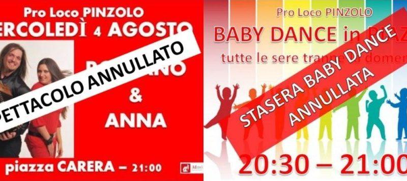 Mercoledì 4 agosto: Spettacolo in piazza Carera ANNULLATO