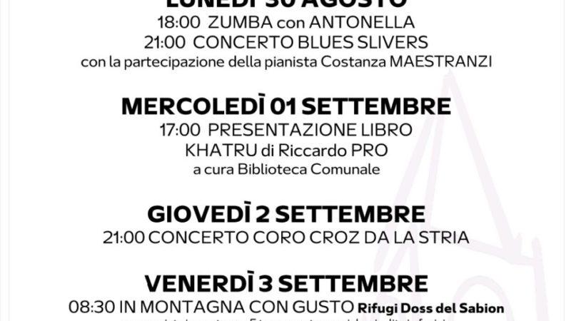 Pro Loco Pinzolo: Programmazione settimanale – Lunedì 30 agosto Domenica 05 settembre 2021