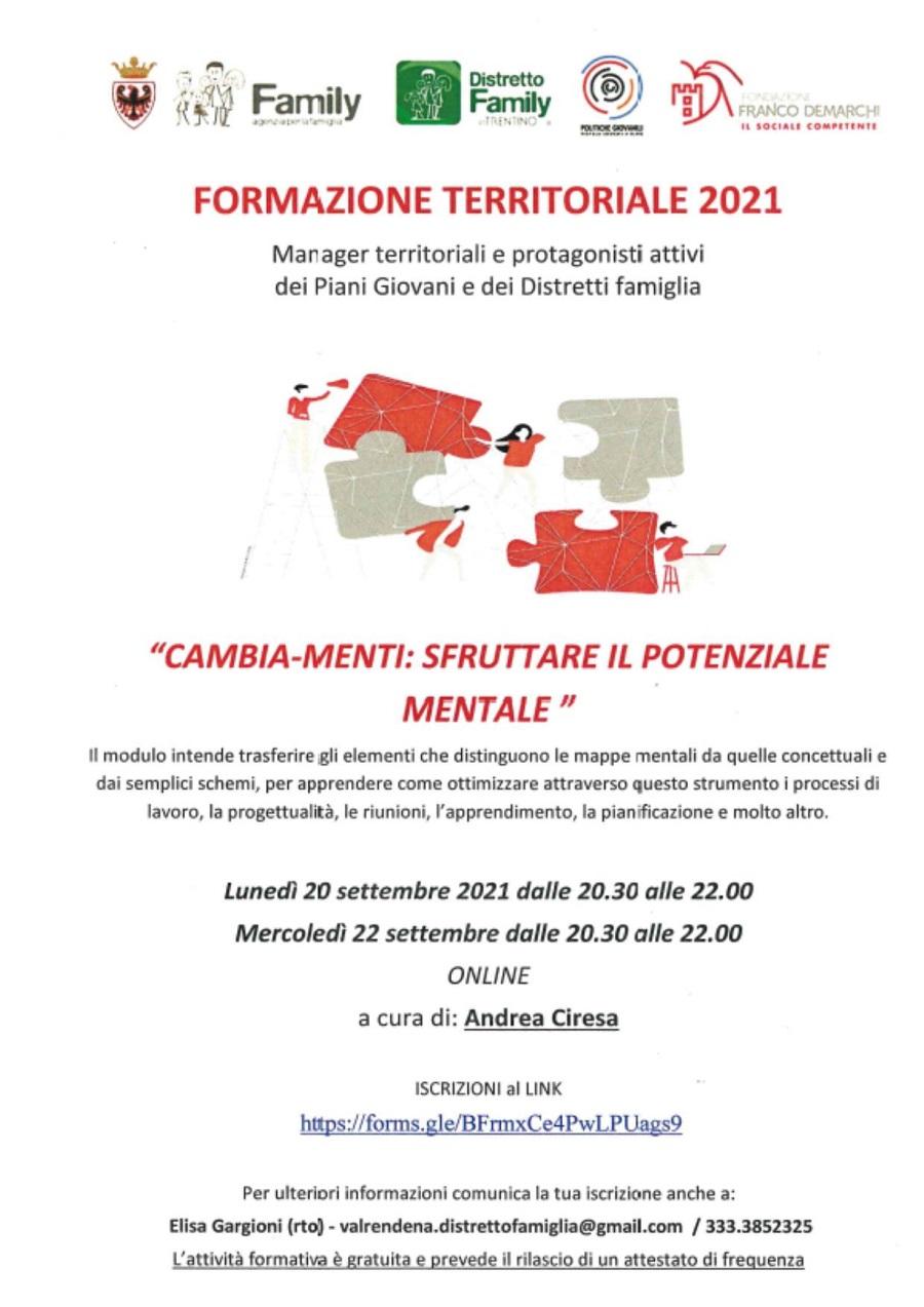 """Formazione territoriale """"CAMBIA-MENTI: sfruttare il potenziale mentale"""""""