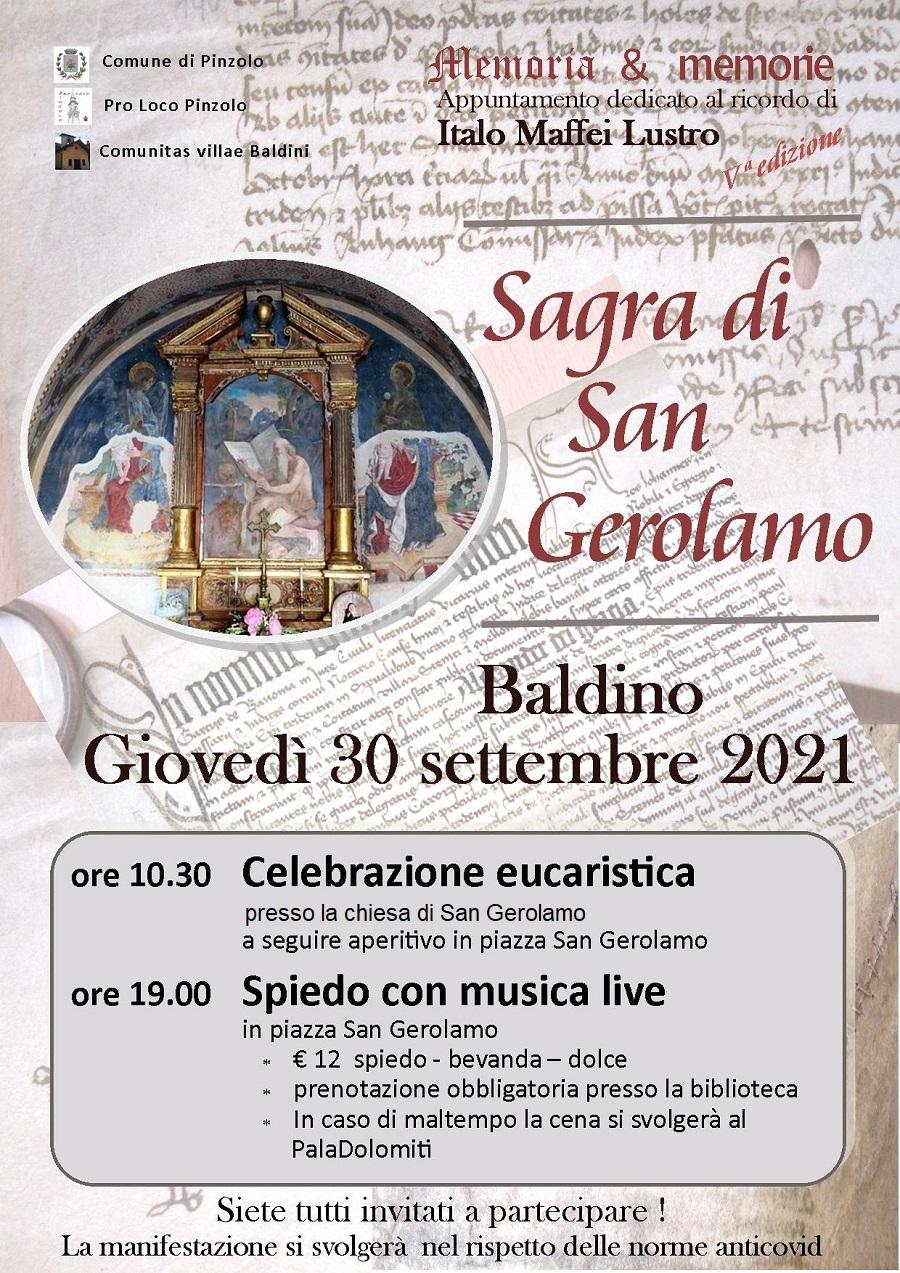 Giovedì 30 settembre – Sagra di San Gerolamo a Baldino