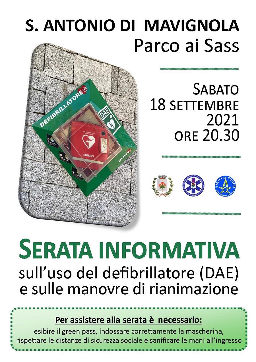 18 settembre – Mavignola: Serata informativa sull'uso del defibrillatore